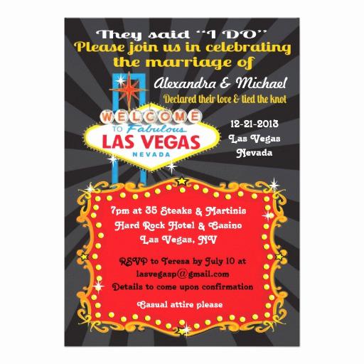 "Wedding Invitation Las Vegas Fresh Las Vegas Post Wedding Reception Invitations 5"" X 7"