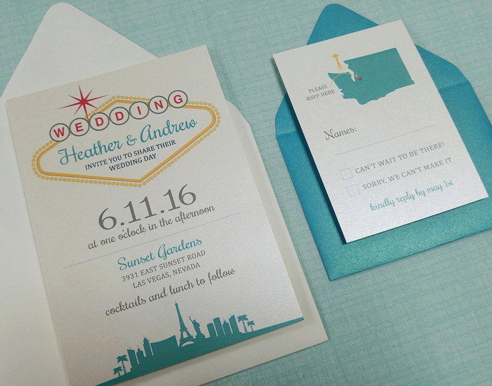 Wedding Invitation Las Vegas Lovely Custom Las Vegas themed Wedding Invitation by