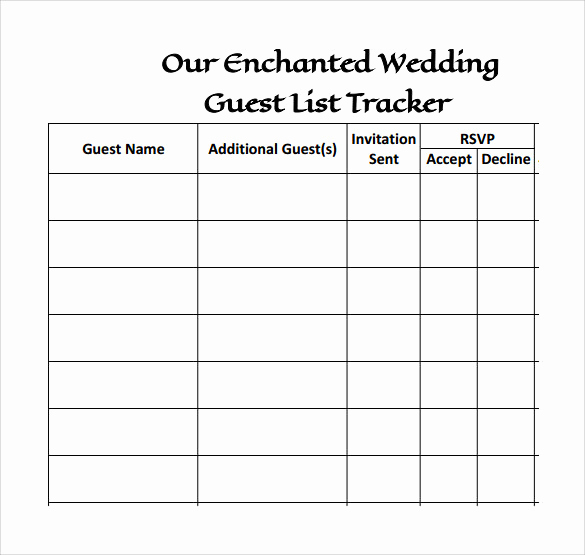 Wedding Invitation List Templates Awesome 17 Wedding Guest List Templates Pdf Word Excel