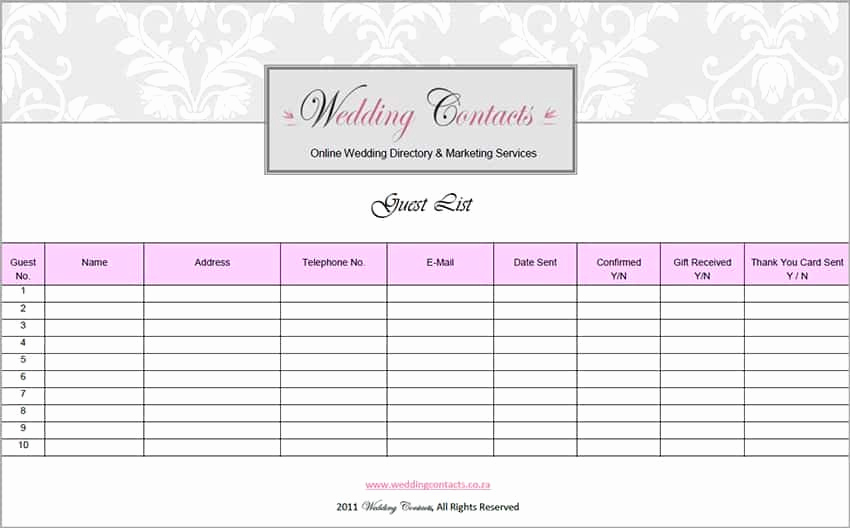 Wedding Invitation List Templates Awesome top 5 Resources to Get Free Wedding Guest List Templates
