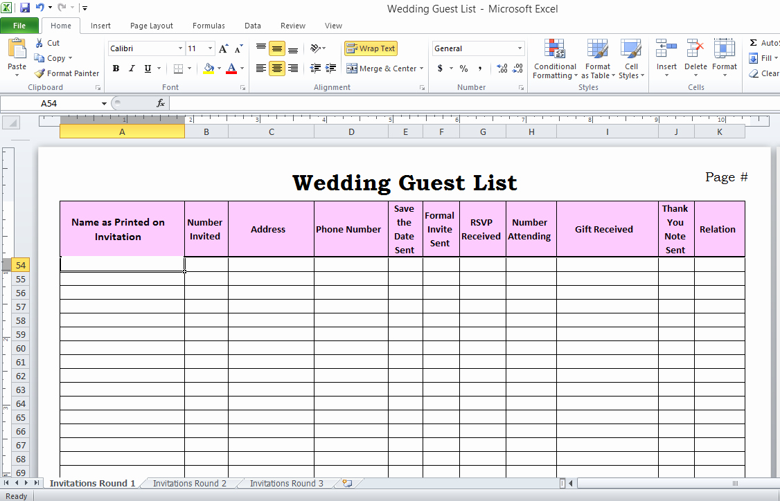 Wedding Invitation List Templates Awesome Wedding Guest List In Excel Need to Use This or something