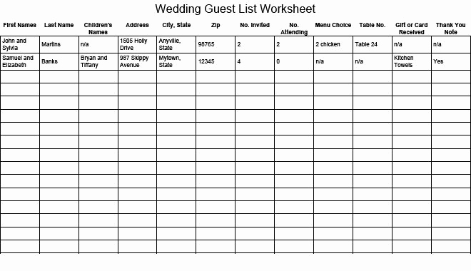 Wedding Invitation List Templates Beautiful Wedding Guest List Worksheet