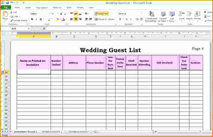 Wedding Invitation List Templates Best Of 5 Wedding Guest List Template Excel