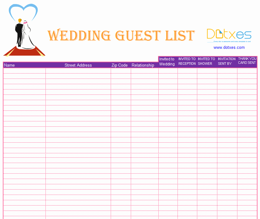 Wedding Invitation List Templates Elegant Blank Wedding Guest List Template Dotxes
