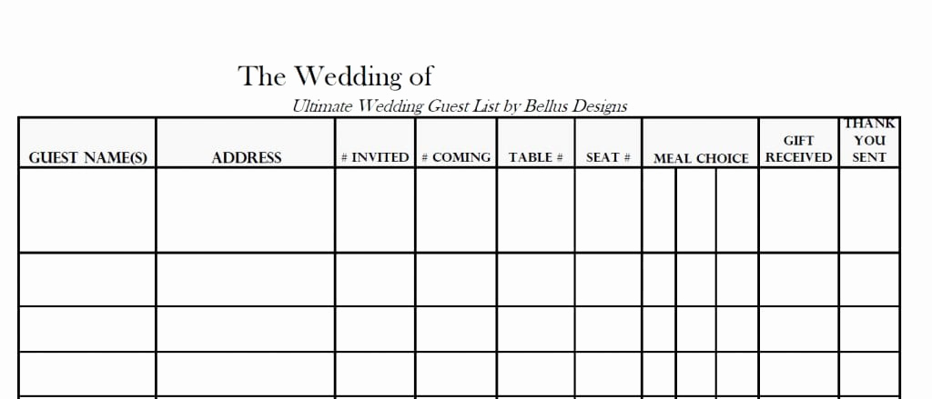 Wedding Invitation List Templates Fresh 7 Free Guest List Templates Excel Pdf formats