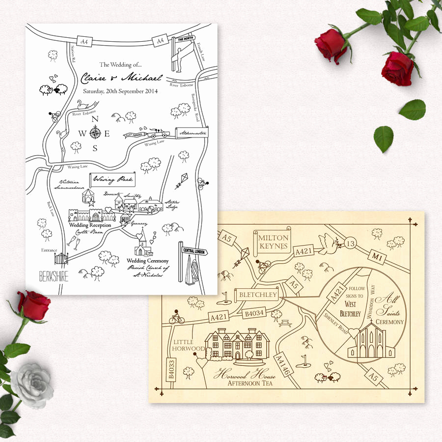 Wedding Invitation Map Creator Awesome Mono Colour Illustrated Map Invitation Postcard by Cute