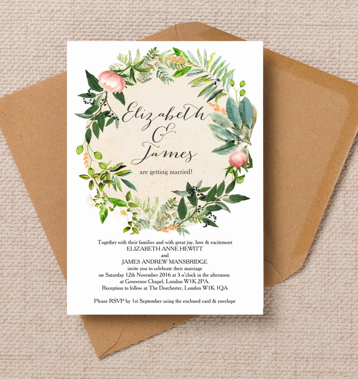 Wedding Invitation Photo Ideas Beautiful Flora Wreath Wedding Invitation From £1 00 Each