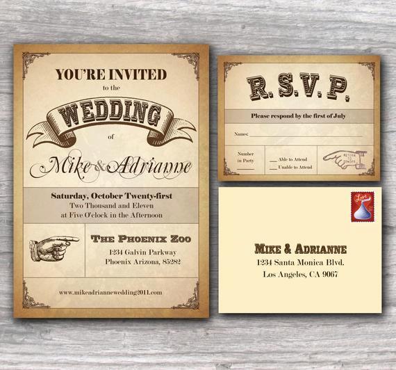 Wedding Invitation Photo Ideas Fresh Items Similar to Western Poster Wedding Invitation Sample