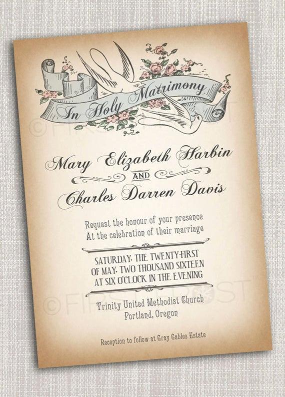Wedding Invitation Photo Ideas Lovely Vintage Style Printable Wedding Invitation Bridal