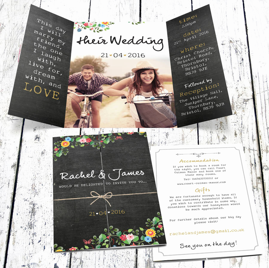 floral chalkboard wedding invitation with photo