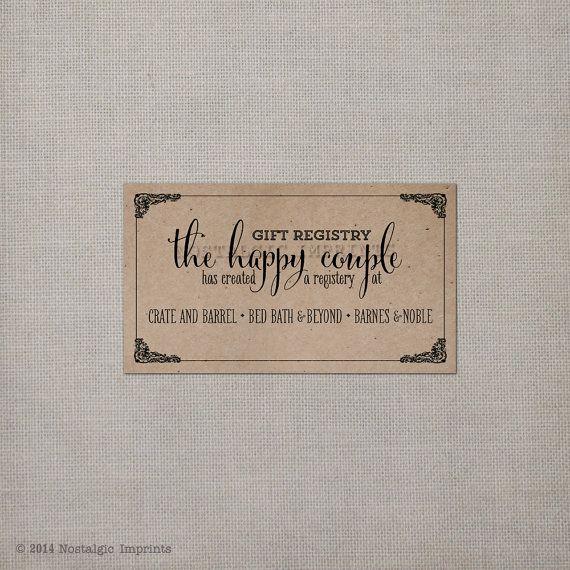Wedding Invitation Registry Wording Awesome 100 Wedding Registry Cards Rc0002 by Nostalgicimprints On