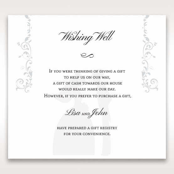 Wedding Invitation Registry Wording Beautiful Charming Embossed Bride and Groom