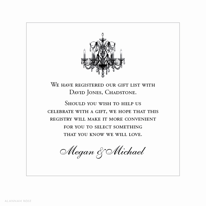 Wedding Invitation Registry Wording Beautiful Love Light Gift Registry Card Alannah Rose