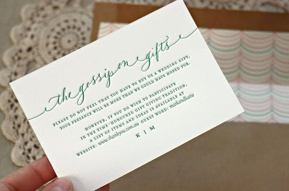 Wedding Invitation Registry Wording Elegant Cute Wording for A Registry Card by Bespoke Press