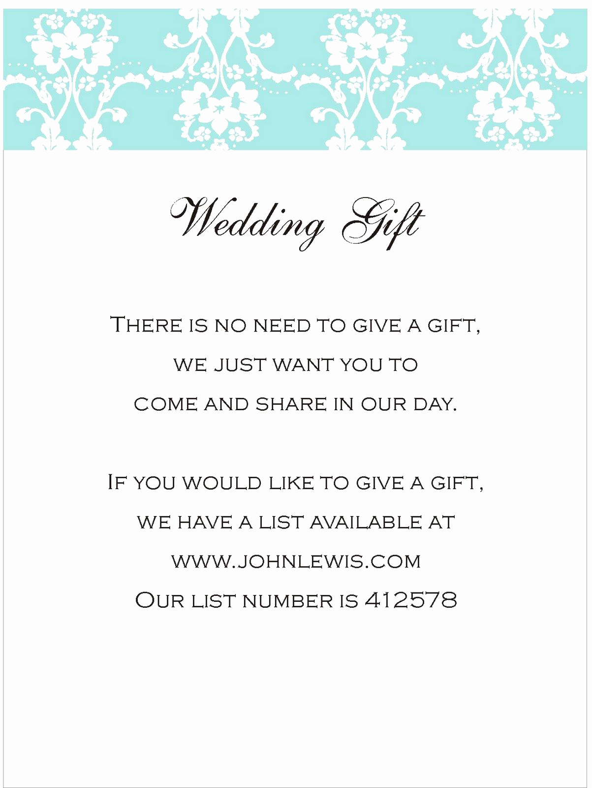Wedding Invitation Registry Wording Lovely Your Wedding Gift