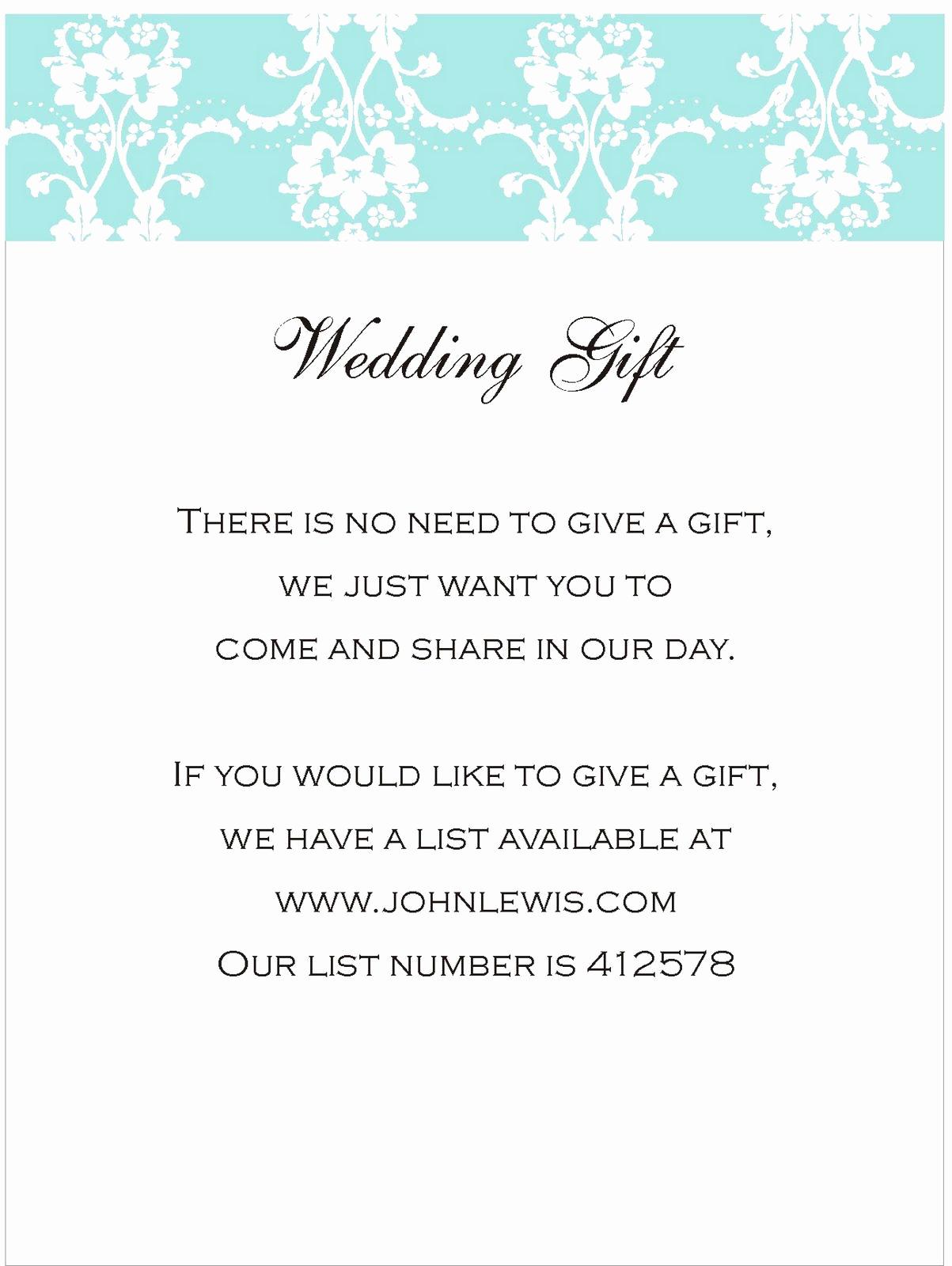 Wedding Invitation Registry Wording Lovely Your Wedding Gift