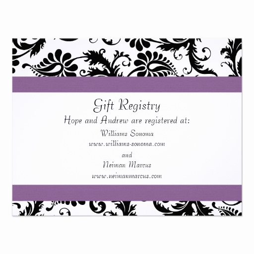 Wedding Invitation Registry Wording Luxury Grape Trim Black Damask Gift Registry Wedding 4 25x5 5