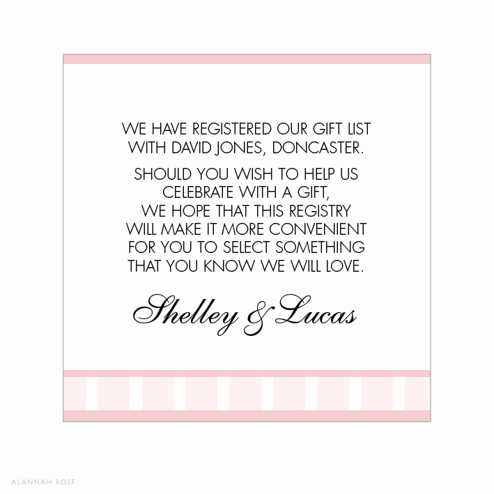 Wedding Invitation Registry Wording Luxury Vintage Glamour Gift Registry Card Alannah Rose