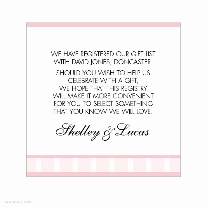 Wedding Invitation Registry Wording Luxury Vintage Glamour Gift Registry Card Alannah Rose