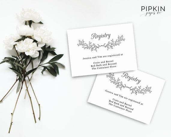 Wedding Invitation Registry Wording New Printable Wedding Registry Card Wedding Invitation Set
