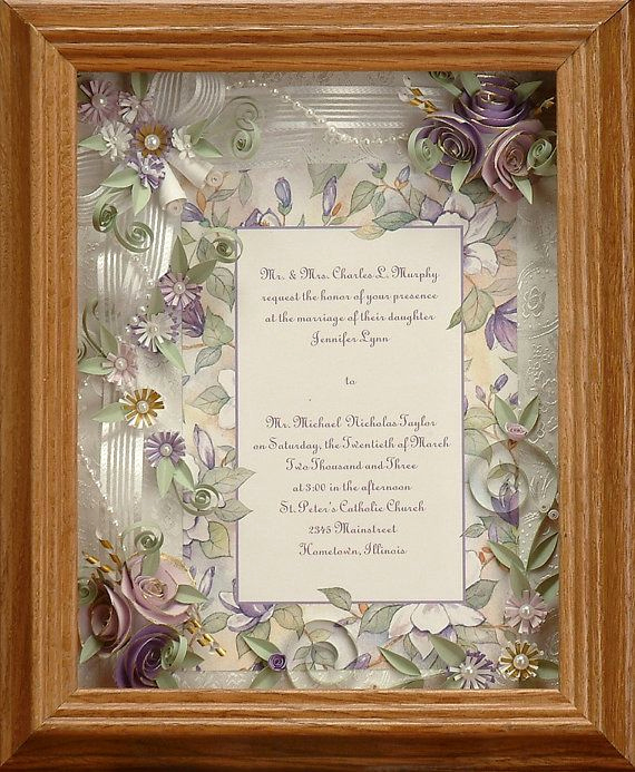 Wedding Invitation Shadow Box New Framed Wedding Invitation Spring Wedding Lavender
