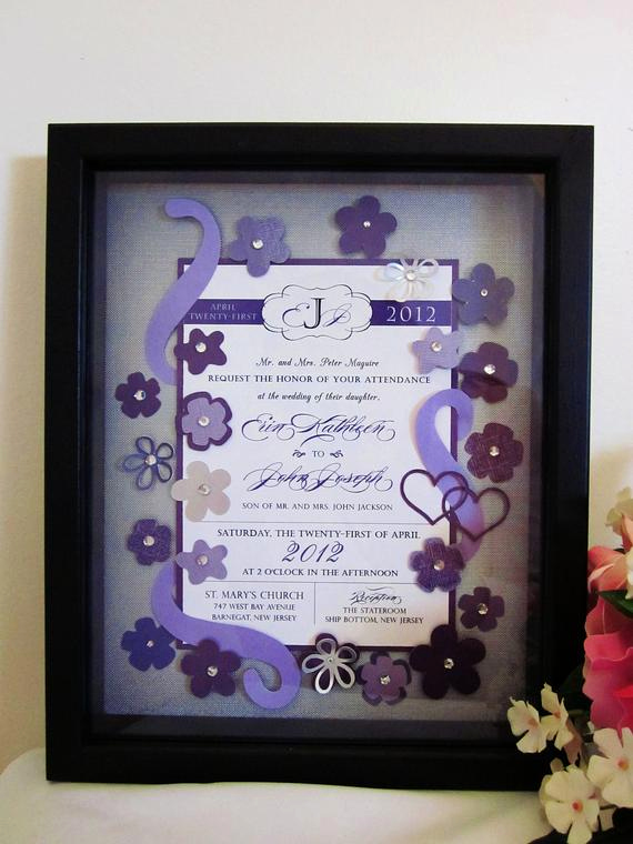 Wedding Invitation Shadow Box New Items Similar to Wedding Invitation Keepsake Art Shadow