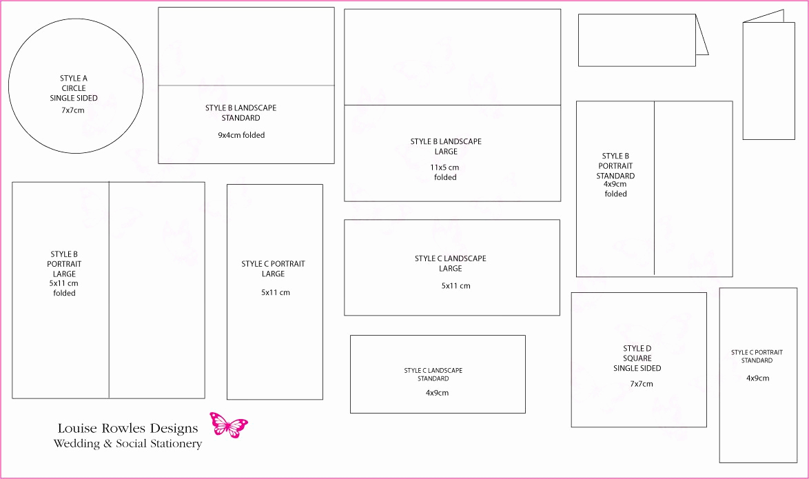 Wedding Invitation Size Chart Best Of Card Dimensions