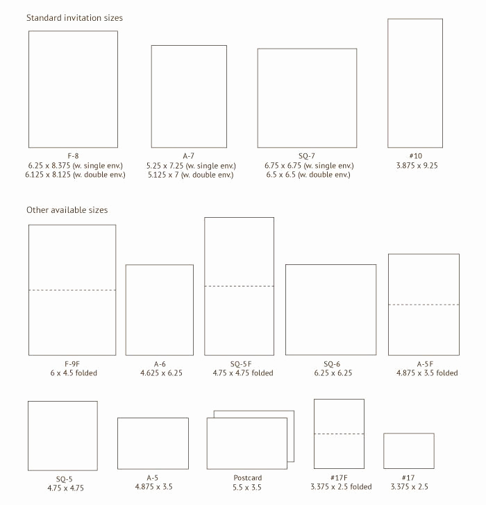 Wedding Invitation Size Chart Fresh Wedding Invitation Paper Size