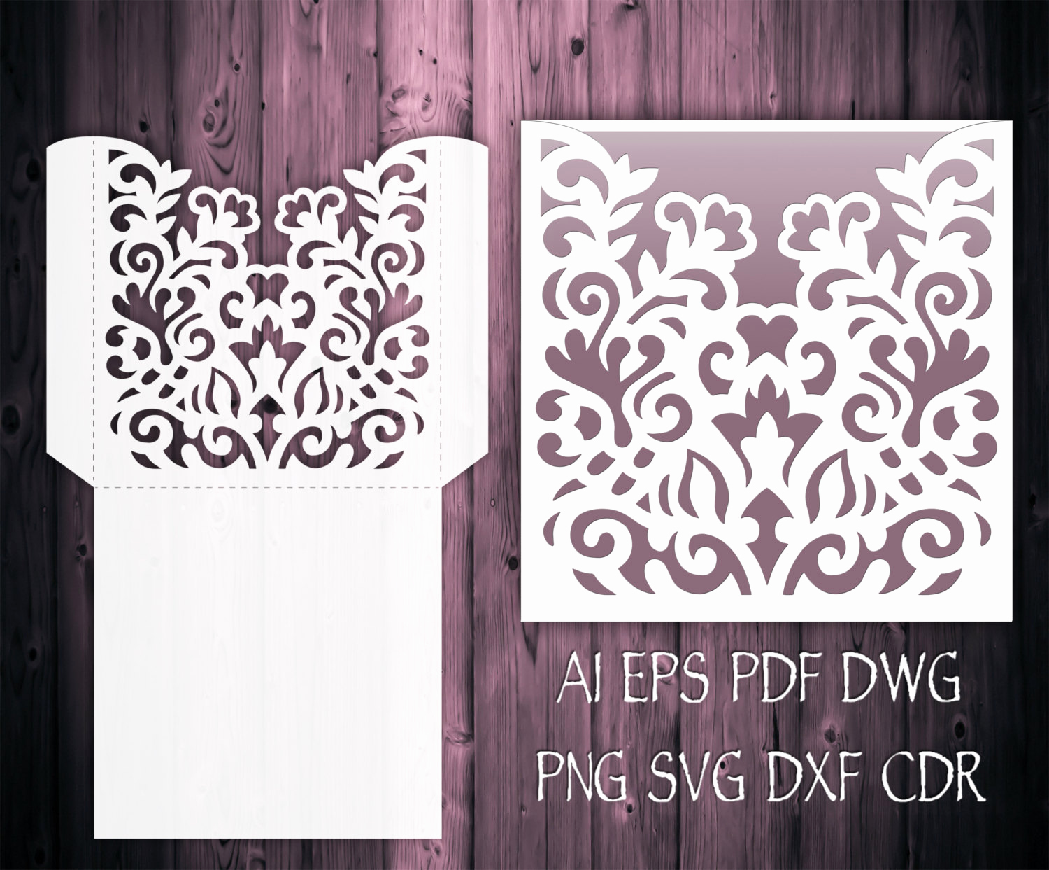 Wedding Invitation Svg Files Awesome Wedding Invitation Pocket Envelope 5x7 & 5x5 Svg Template