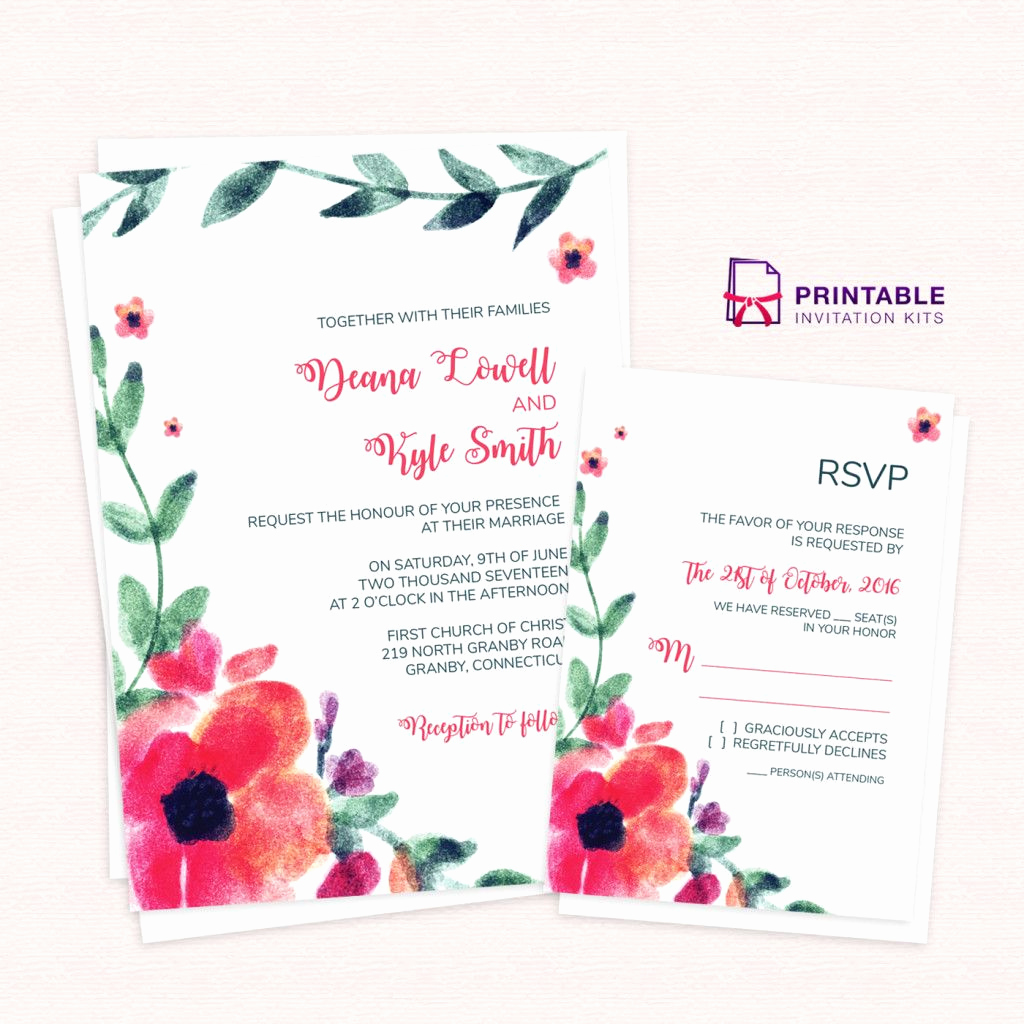Wedding Invitation Template Download Beautiful Free Pdf Download Wedding Invitation and Rsvp Watercolor