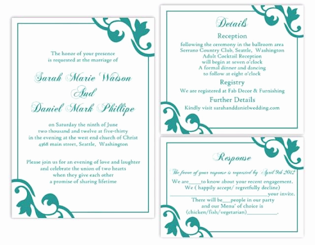 Wedding Invitation Template Download Best Of Diy Wedding Invitation Template Set Editable Word File
