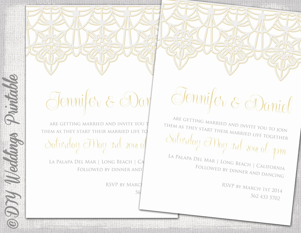 Wedding Invitation Template Download Elegant Wedding Invitation Template Lace Trim Silver