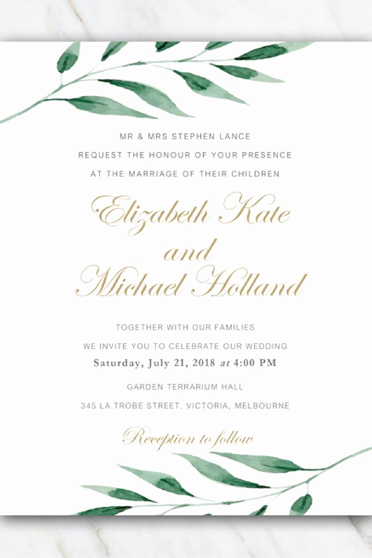 Wedding Invitation Template Download Luxury Olive Branch Wedding Invitation Template In 2019