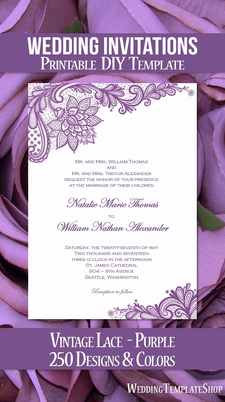 Wedding Invitation Template Download New Vintage Lace Wedding Invitation Purple In 2019