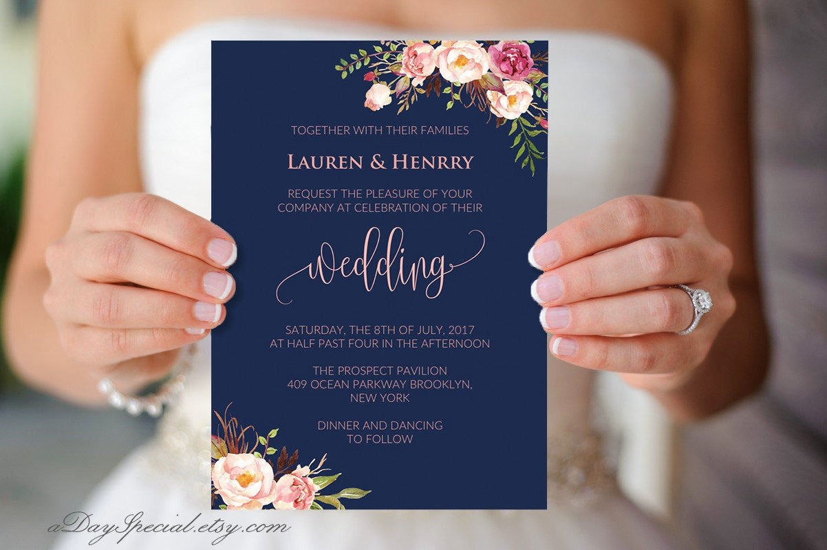 Wedding Invitation Templates Downloads Awesome Navy Wedding Invitation Template Pink Coral Boho Chic Floral
