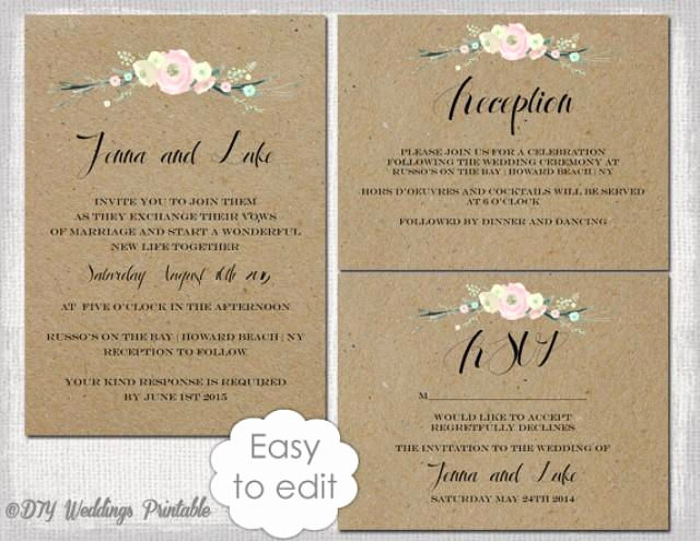 rustic wedding invitation templates diy quotrustic flowersquot printable wedding invitation template suite kraft white editable digital
