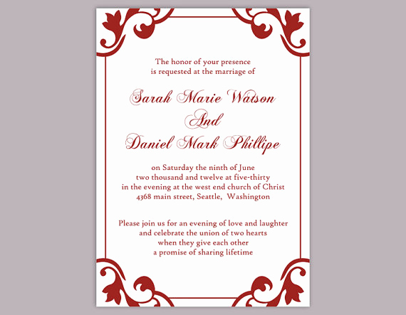 Wedding Invitation Templates Downloads Beautiful Diy Wedding Invitation Template Editable Word File Instant