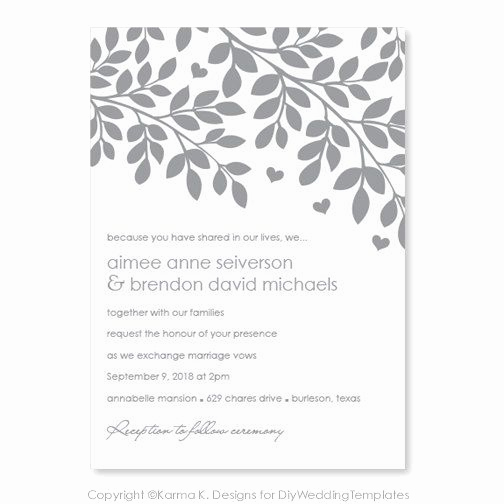 Wedding Invitation Templates Downloads Elegant Printable Wedding Invitation Template Download Instantly