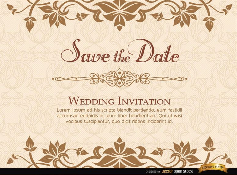 Wedding Invitation Templates Downloads Luxury Golden Floral Wedding Invitation Template Vector