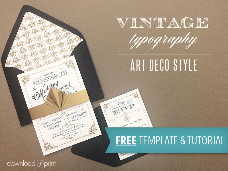 Wedding Invitation Templates Free Download Beautiful Free Template Vintage Wedding Invitation with Art Deco Band