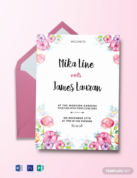 Wedding Invitation Templates Free Download Beautiful Free Watercolor Floral Wedding Invitation Template
