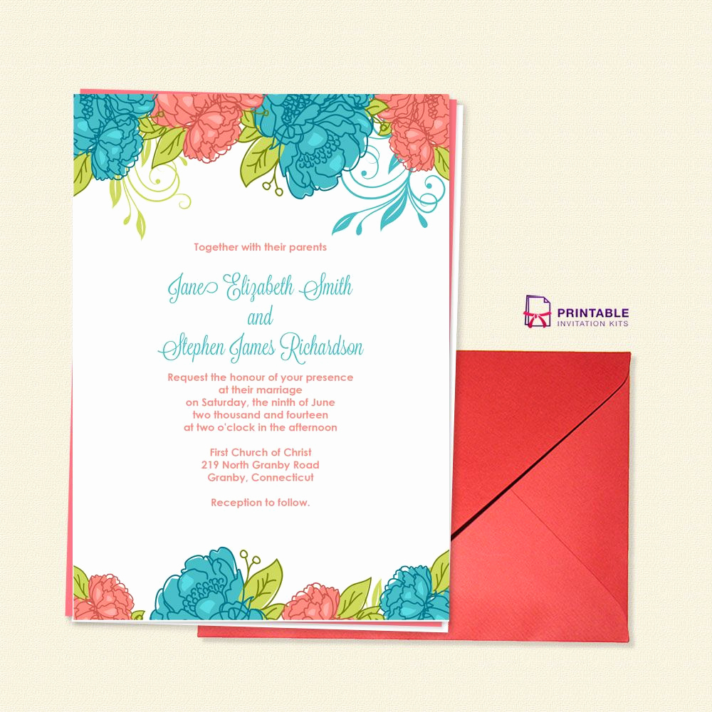 Wedding Invitation Templates Free Download Lovely Free Pdf Download Summer Blooms Wedding Invitation for