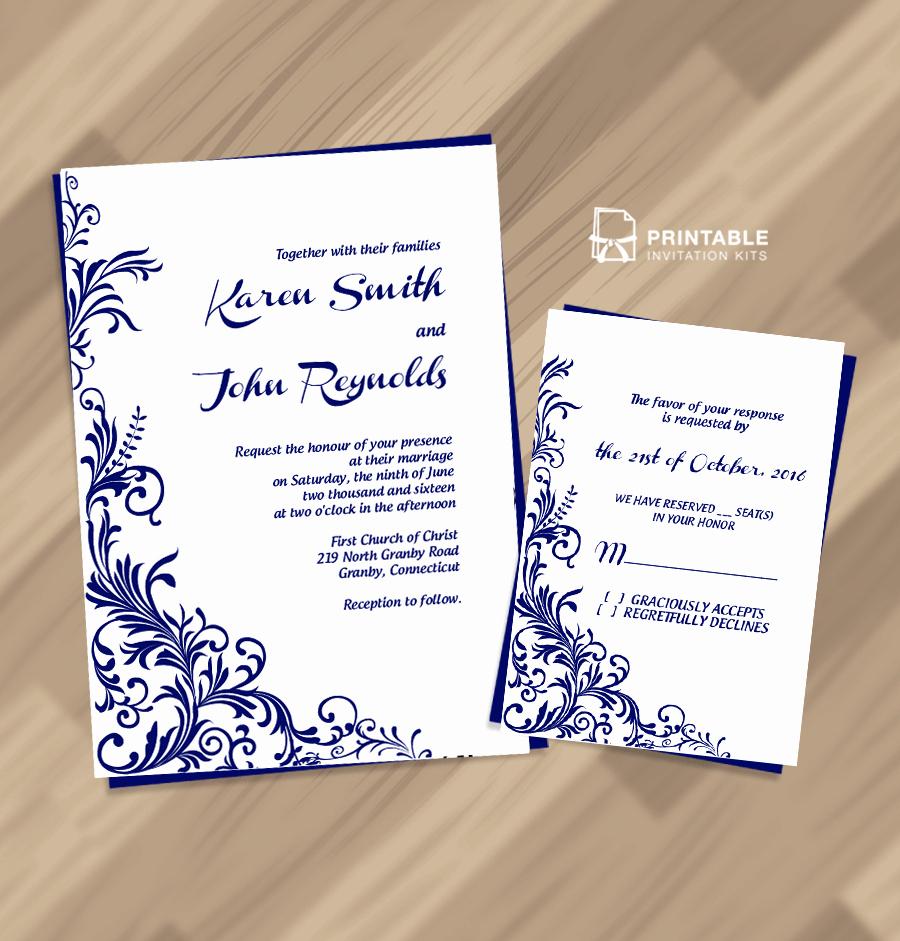 Wedding Invitation Templates Free Download Lovely Free Pdf Wedding Invitation Download Foliage Borders