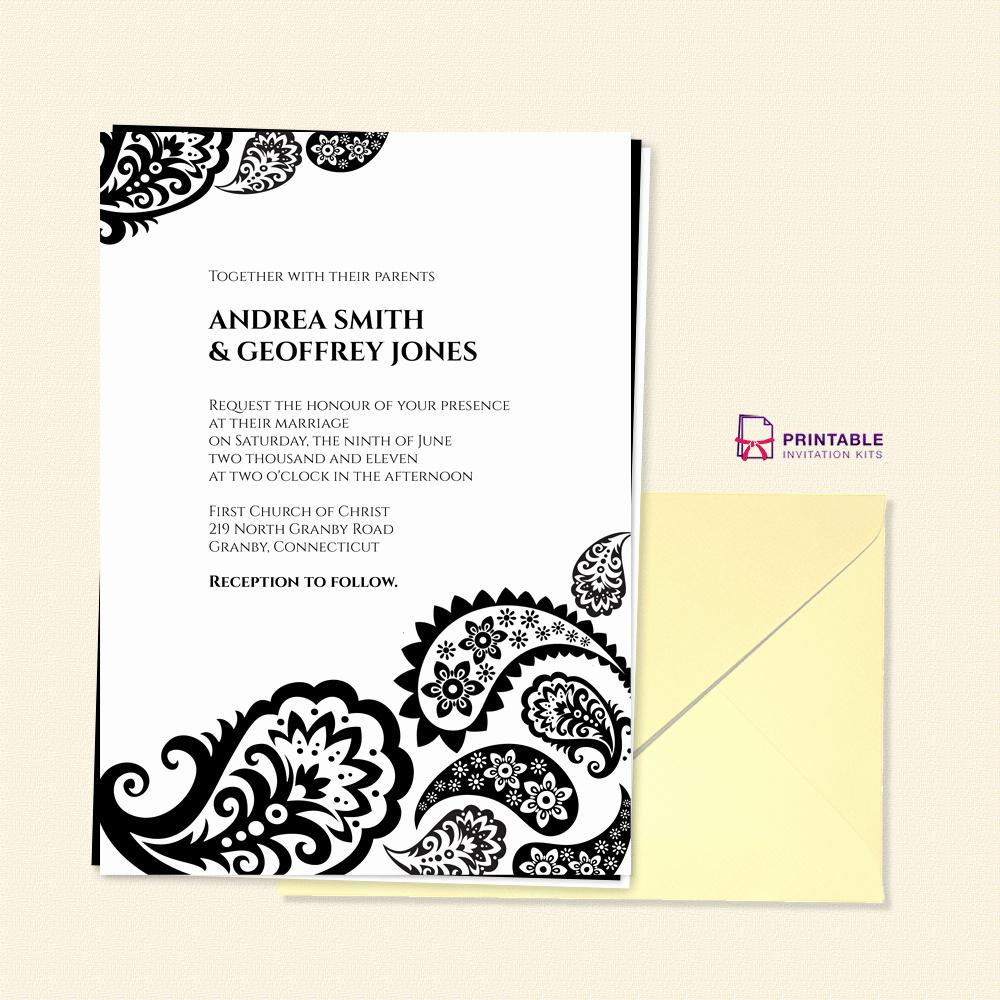 Wedding Invitation Templates Free Download New Free Pdf Download Paisley Border Wedding Invitation