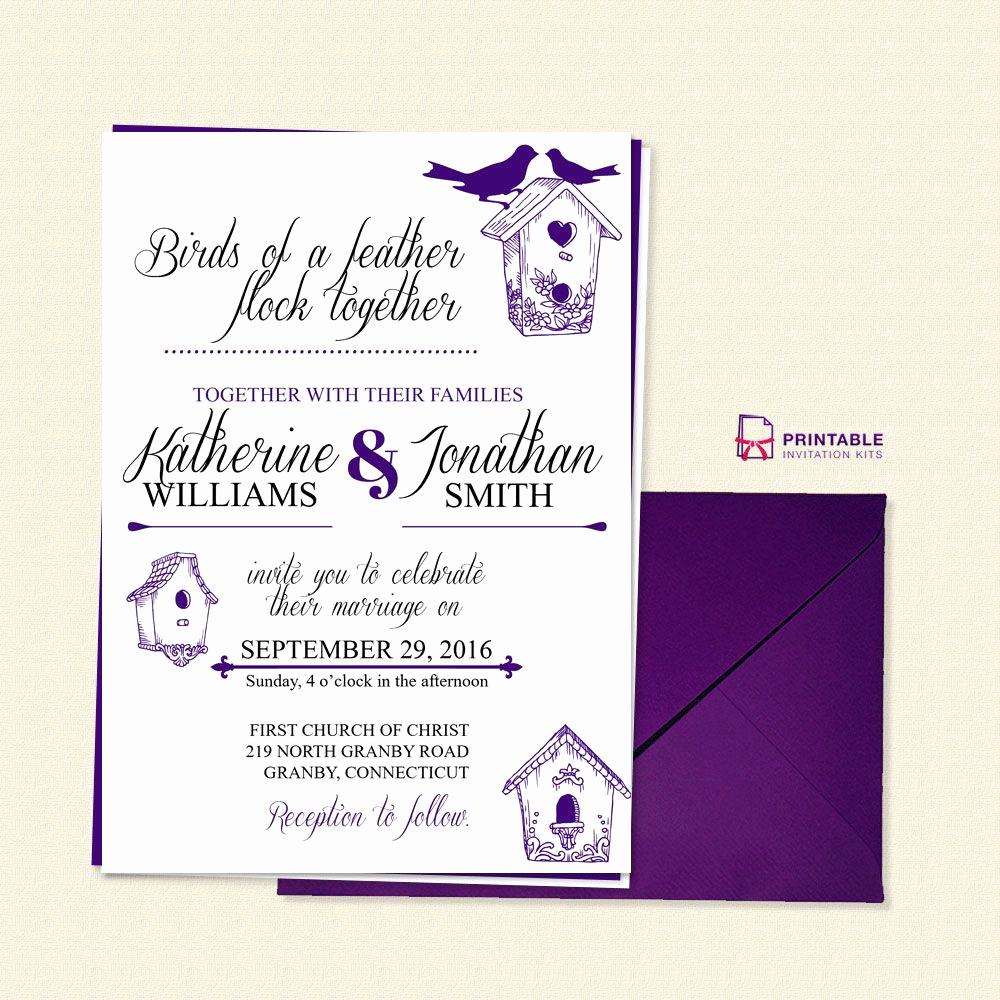 Wedding Invitation Templates Free Download Unique Free Pdf Birds Of A Feather Wedding Invitation Template