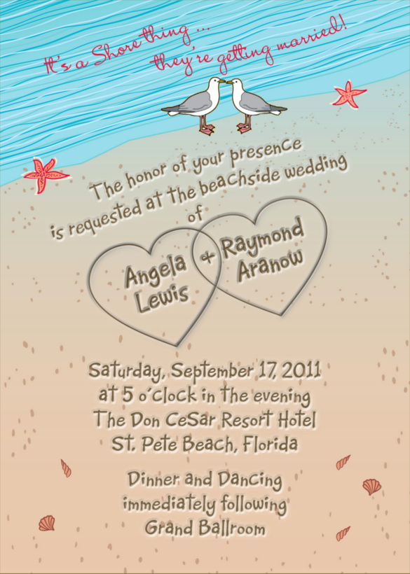Wedding Invitation Templates Free Downloads Awesome 26 Beach Wedding Invitation Templates Psd Ai Word