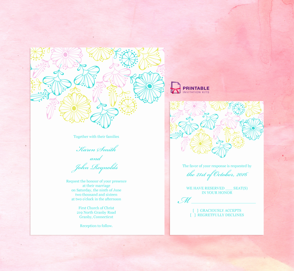 Wedding Invitation Templates Free Downloads Awesome Free Pdf Download Spring Blooms – Wedding Invitation and