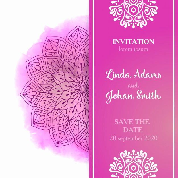 Wedding Invitation Templates Free Downloads Awesome Pink Wedding Invitation Template Vector