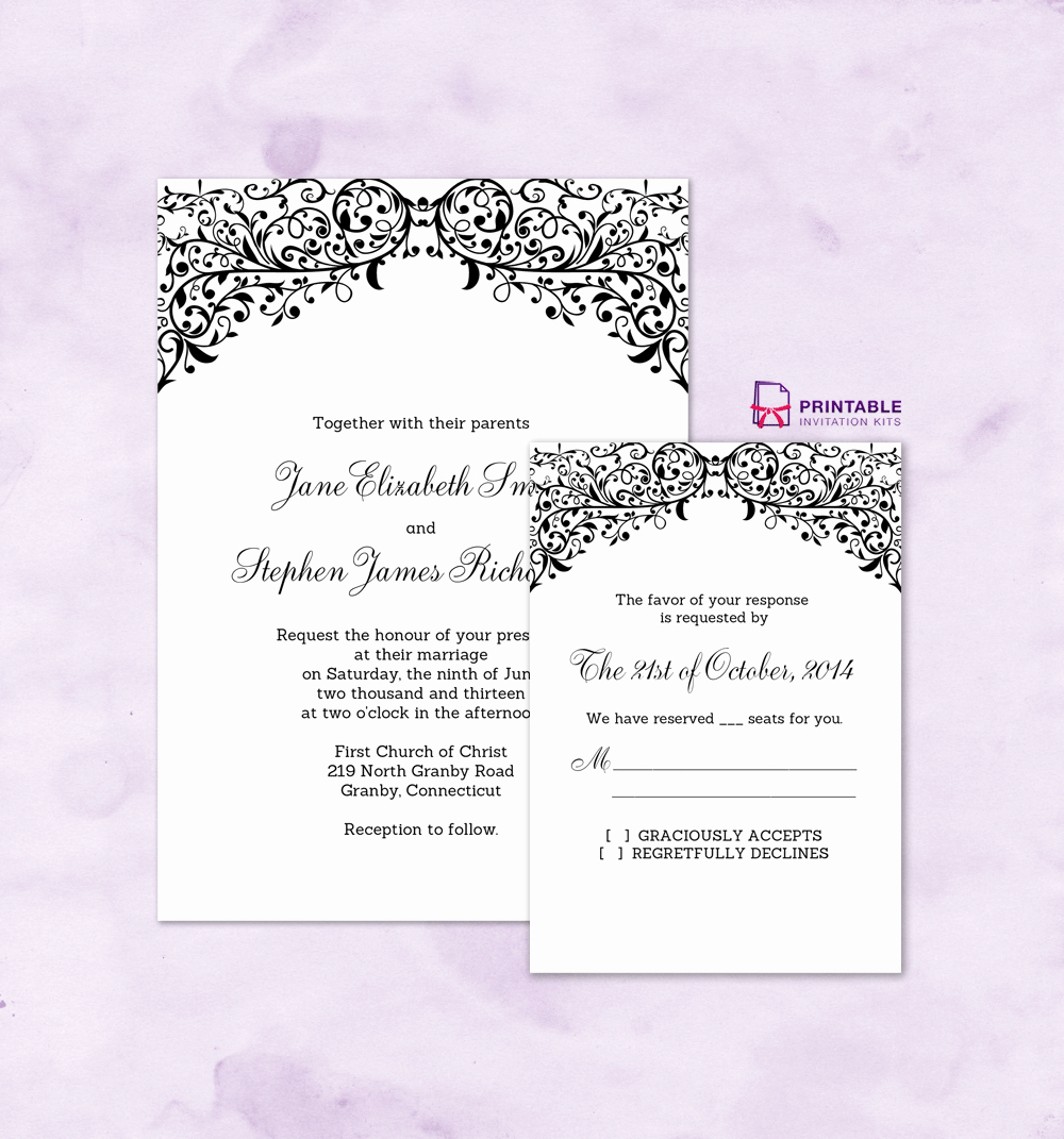 Wedding Invitation Templates Free Downloads New Free Pdf Wedding S Filigree top Border Invitation