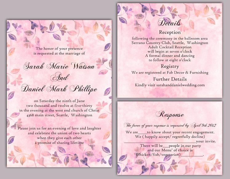 Wedding Invitation Templates Word Beautiful Diy Rustic Wedding Invitation Template Set Editable Word